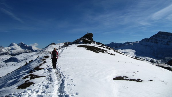 Hiking on snow in Rocky Mountains