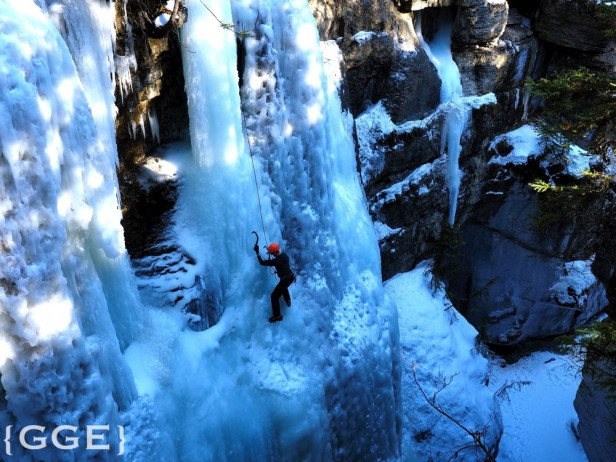 Ice climbing Maligne Canyon Jasper