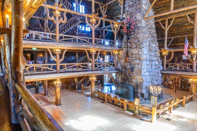 Rustic lobby fireplace lodge