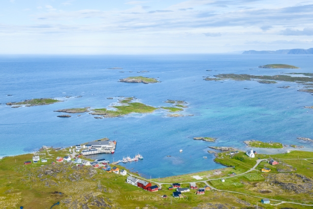 View of fishing village and barents sea