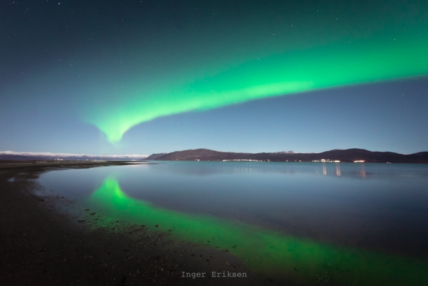 Northern Lights Reflection Fjord Alta Norway