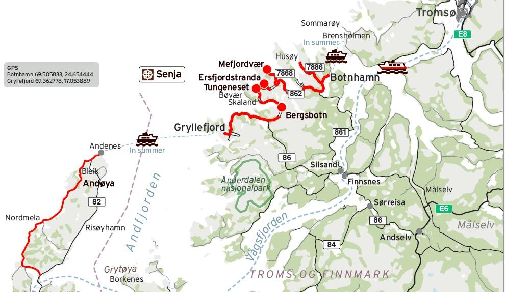 Senja National Scenic Route Map